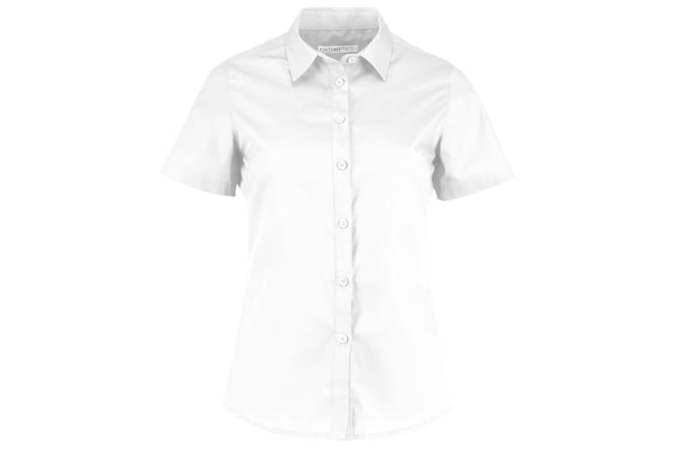 Kustom Kit Womens/Ladies Short Sleeve Poplin Shirt (White) (8)