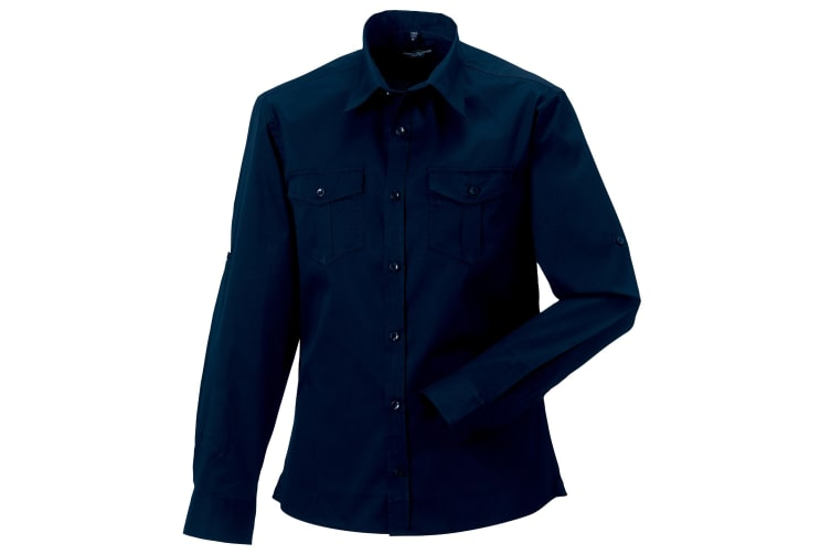 Russell Collection Mens Long / Roll-Sleeve Work Shirt (French Navy) (XL)