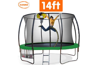 Trampoline 14 ft Kahuna with Basketball set - Green