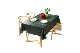 Pvc Waterproof Tablecloth Oil Proof And Wash Free Rectangular Table Cloth Darkcyan 130*180Cm