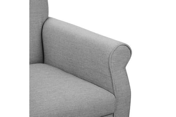 Wingback Linen Fabric Accent Armchair (Grey)