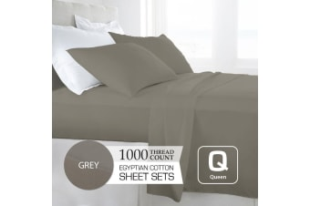 Queen Size Grey 1000TC Egyptian Cotton Sheet Set