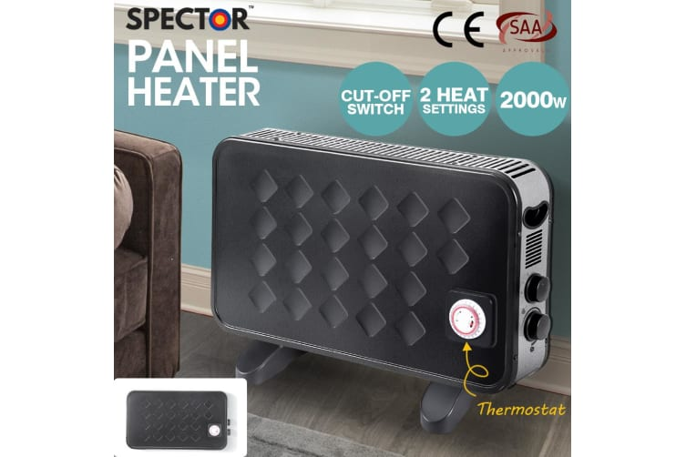 Spector 2000W Black Metal Portable Electric Panel Heater Convection Home Outdoor
