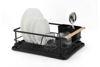 Ombra Kitchen Dish Rack Black and Wood  Rust Proof W/ Holder/Drip Tray