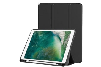 For iPad Air 3 (2019) Case Karst Texture PU Leather Folio Cover Pen Slot Black