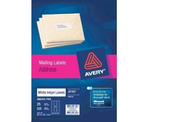 AVERY INKJET LABELJ8160-25 25 SHEETS