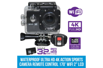 "Elinz Ultra HD 4K Waterproof Action Sports Video Camera Remote Control WiFi 2""LCD 32GB"