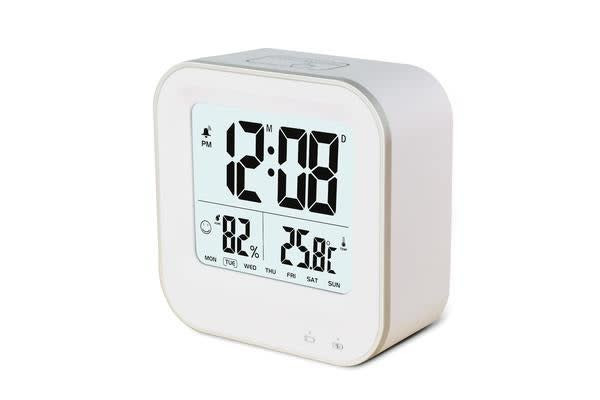 TODO Rechargeable Smart Lcd Alarm Clock Portable 600Mah Li-Ion Battery Time Temp - White