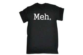 123T Funny Tee - Meh - (X-Large Black Mens T Shirt)