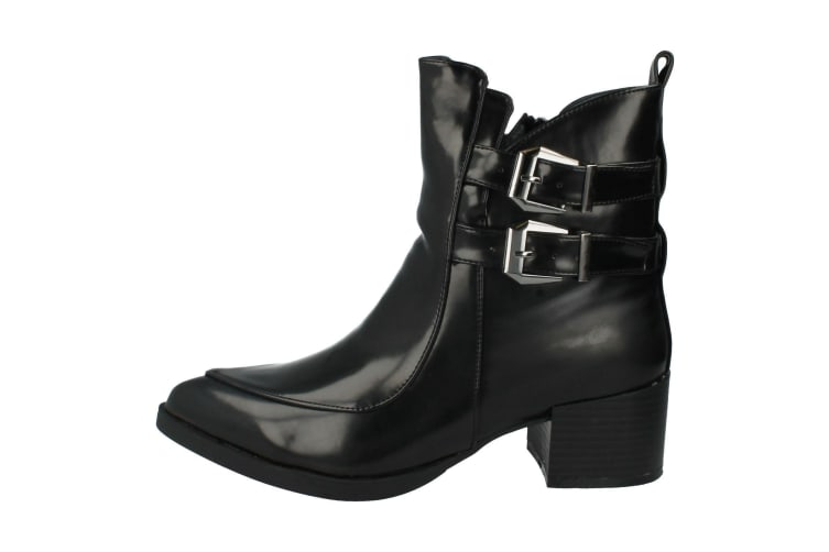 Spot On Womens/Ladies High Heeled Buckled Ankle Boots (Black) (4 UK)