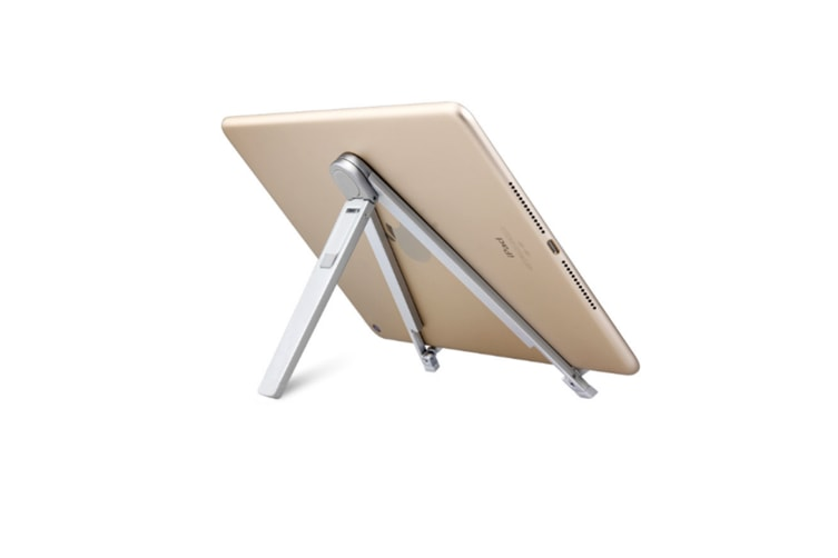 Select Mall Aluminum Mobile Phone Ipad Triangle Metal Folding Multi-function Lazy Desktop Tablet Bracket-Silver