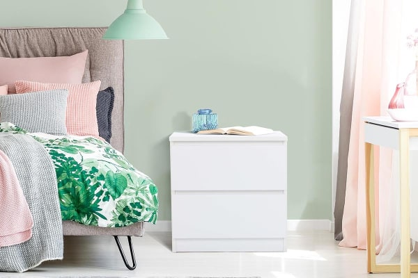 Ovela 2 Drawer Bedside Table - Maribo Collection (White)