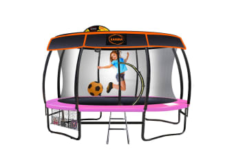 Kahuna Trampoline 14 ft with Basketball set and Roof - Pink