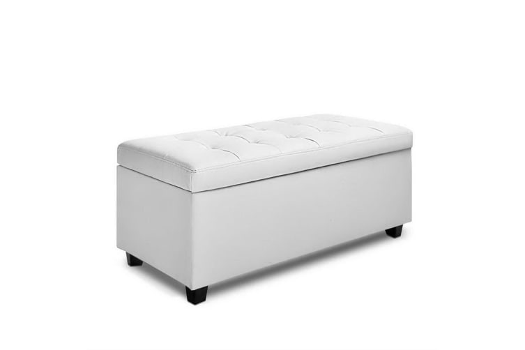 Sensational Artiss Blanket Box Storage Ottoman Pu Leather Foot Stool Chest Toy Bed Large Wh Alphanode Cool Chair Designs And Ideas Alphanodeonline