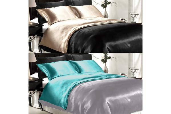 Dreamz Satin Duvet Cover Pillowcases Set TEAL - Single