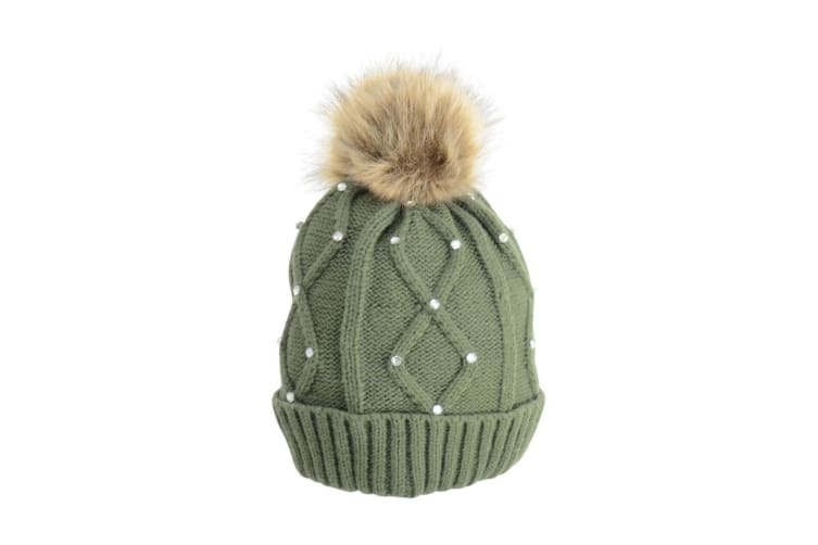 HyFASHION Adults Dakota Diamante Bobble Hat (Forest Green) (One Size)