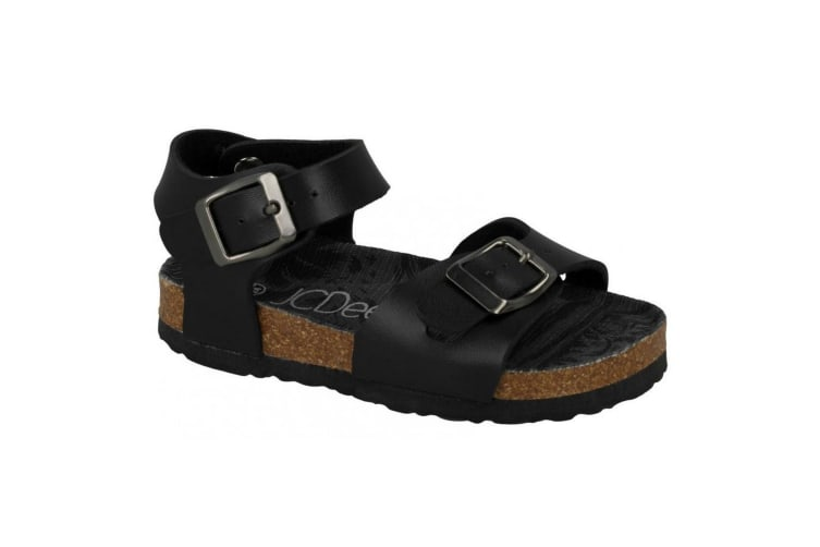JCDees Boys Synthetic Buckle Ankle Strap Sandals (Black) (7 Child UK)