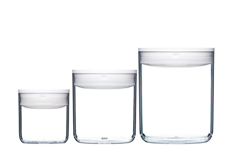 ClickClack Pantry Round Small White Set of 3