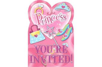 Amscan Folded Invites - Princess (Pink) (One Size)