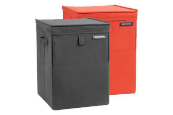 Brabantia 35l Black Red Stackable Laundry Polyester Box Basket Washing Clothes
