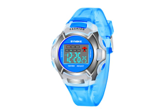Children'S Watch Nightlight Waterproof Sports Electronic Watch Blue