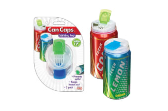 Jokari Set of 2 Can Caps Fizzy Drink Lid Stopper Locking Flip Top