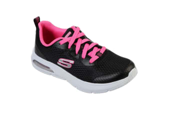 Skechers Girls Dyna-Air Jump Brights Lace Up Trainers (Black/Hot Pink) (10.5 UK Child)