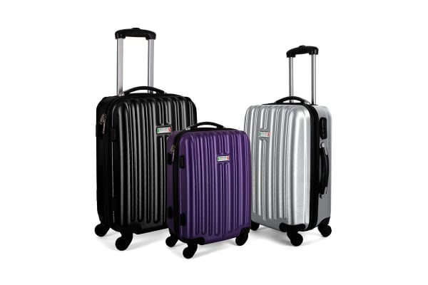 Milano ABS Luxury Shockproof Luggage 3 Piece Set (Purple)