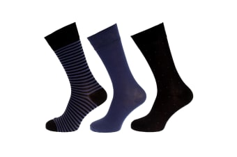 Wolf And Harte Mens Bamboo Socks (3 Pairs) (Black/Blue) (7-11 UK  41-46 EU)
