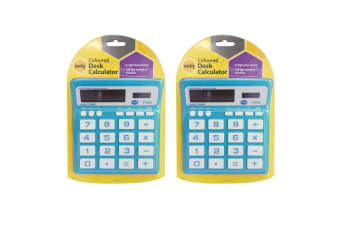 2PK Marbig Coloured Desk Calculator Blue