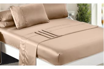 Luxury Super Soft Silky Satin Fitted/ Flat Sheet Pillowcases Bed Set GOLD Queen