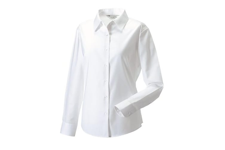 Russell Collection Ladies/Womens Long Sleeve Easy Care Oxford Shirt (White) (2XL)
