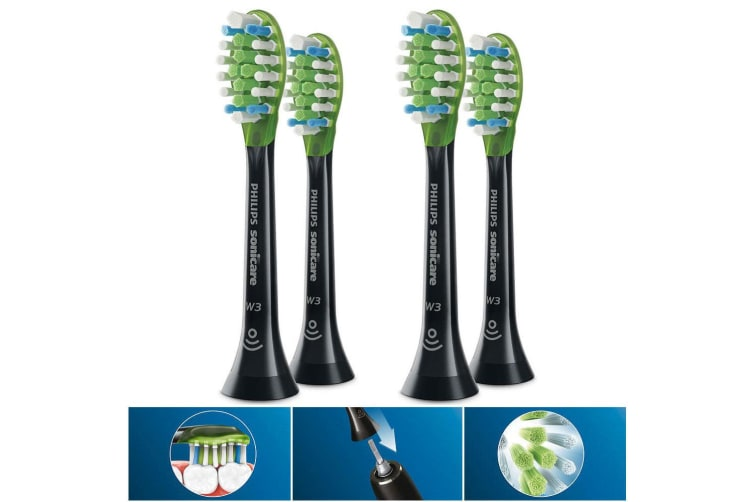 4PC Philips HX9062/96 W3 Premium Wh Replacement Heads for Electric Toothbrush BK