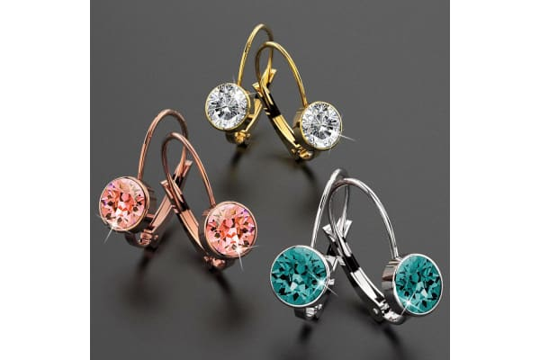 2pc Swarovski Crystal Embellished Earrings Set-Dual Tone Gold/Rose Peach & Blue Zircon