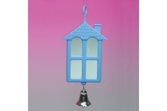 Two Sided House Shape Mirror with Bell for Birds