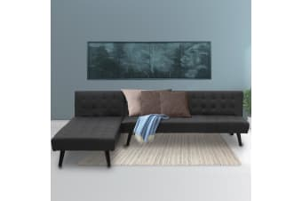 3-Seater Faux Leather Sofa Bed Lounge Chaise Couch Furniture Black