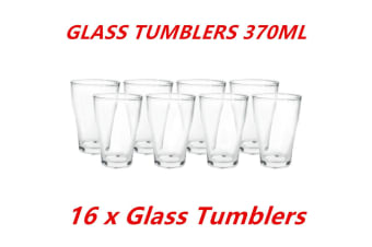 16 x 370ml Clear Glass Tumblers Drinking Cup Scotch Whisky Glasses Party Event