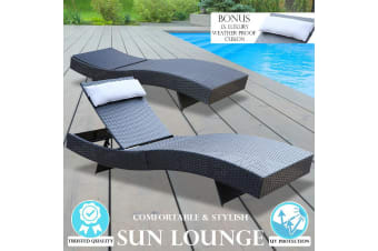 Milano Outdoor Sun Lounge Pool Bed Deck Rattan Chair Curved Design Wicker Sofa