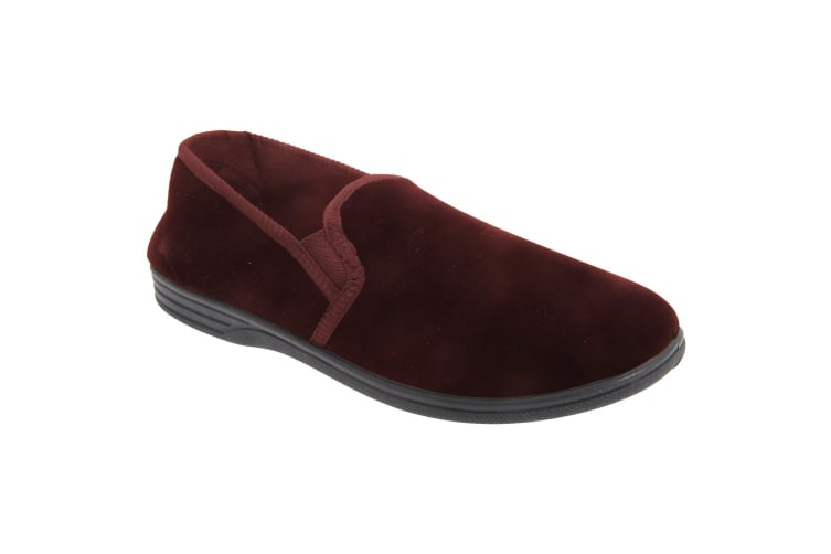 Zedzzz Mens Ross Twin Gusset Velour Slippers (Wine) (12 UK)
