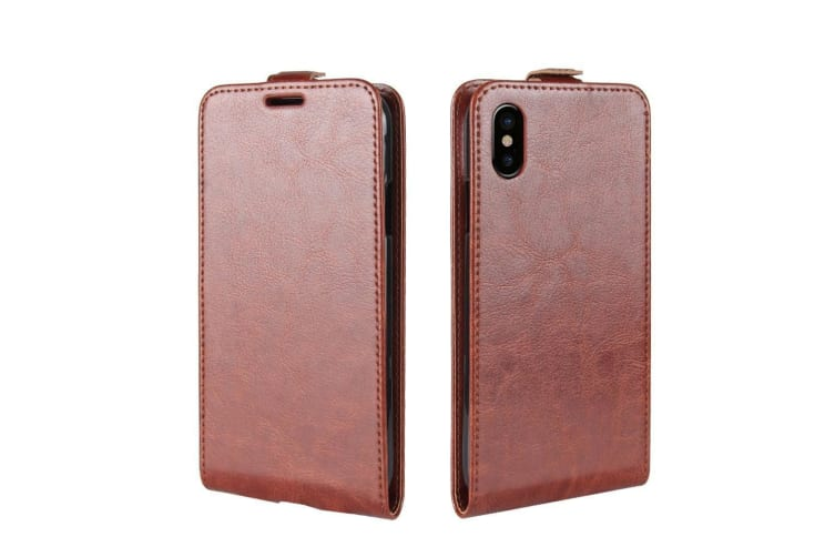 For iPhone XS X Case  Horse Texture Vertical Flip Durable Leather Cover Brown
