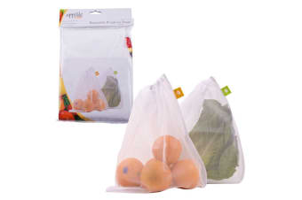 5pc Appetito Mesh Produce Fruits Vegetables Reusable Bags Storage Organiser WHT