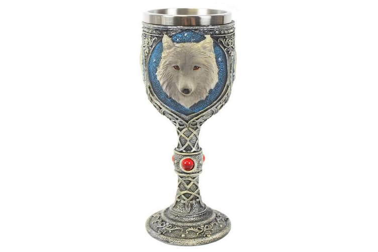 Something Different Resin Wolf Goblet (Silver/Blue) (One Size)