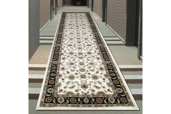Classic Runner Ivory with Black Border 400x80cm
