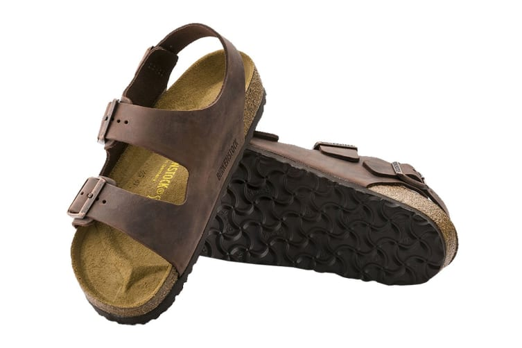 Birkenstock Unisex Milano Oiled Leather Regular Fit Sandal (Habana, Size 44 EU)