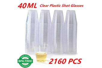 2160 x Shot Cups 40ML BPA Free Clear Plastic Party Mini Cup Glass Disposable
