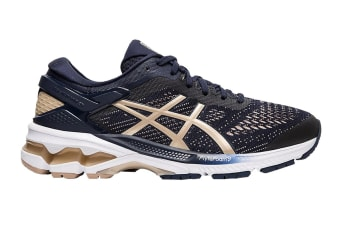 ASICS Women's Gel-Kayano 26 Running Shoe (Midnight/Frosted Almond, Size  6 US)