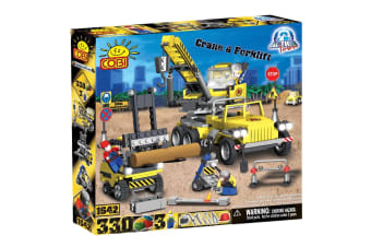 Action Town 330 Piece Construction Crane and Forklift Set