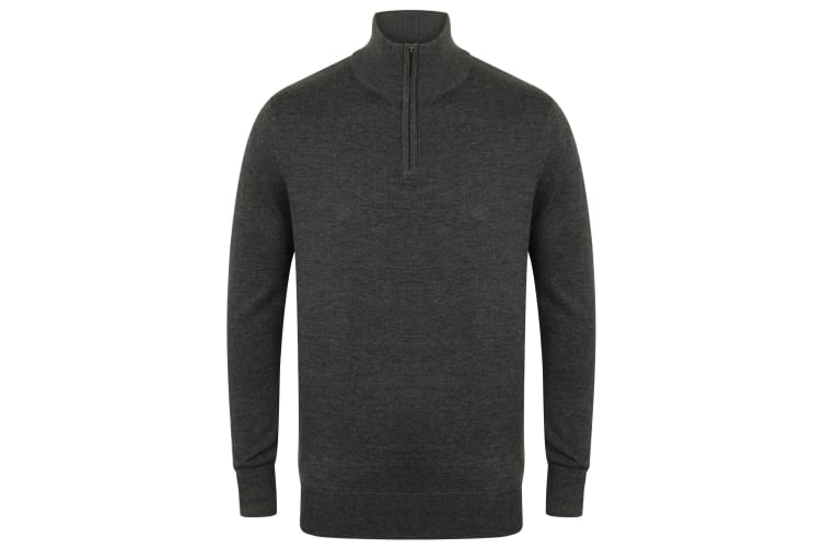 Henbury Mens 1/4 Zip Long Sleeve Jumper (Grey Marl) (S)