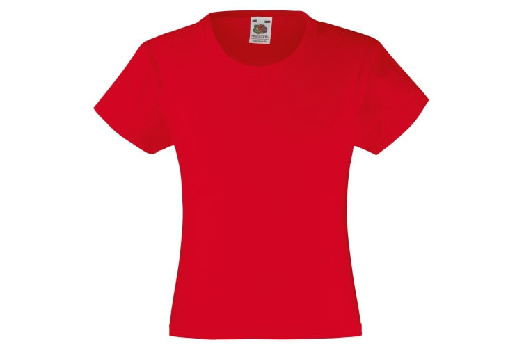 Fruit Of The Loom Girls Childrens Valueweight Short Sleeve T-Shirt (Pack of 2) (Red) (7-8)