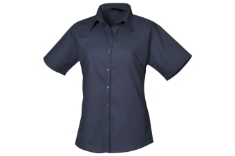 Premier Short Sleeve Poplin Blouse / Plain Work Shirt (Navy)